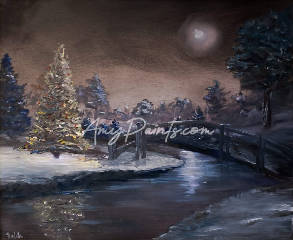 Christmas Tree At Night Oil Painting Amypaints Com