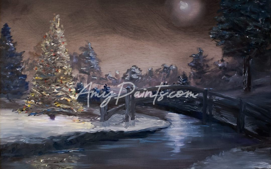 Christmas Tree at Night Oil Painting