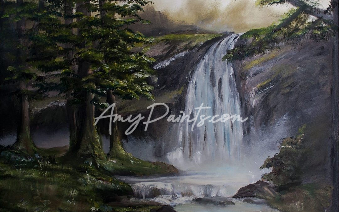 Deep Forest Waterfall Oil Painting