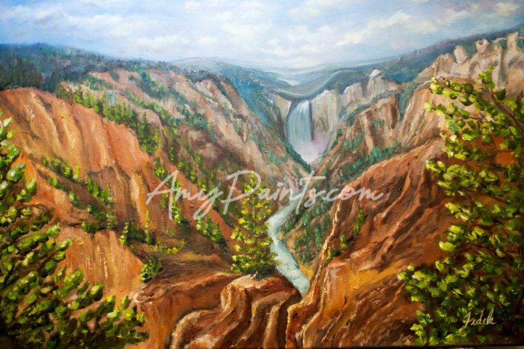 Grand Canyon of Yellowstone, Artists Point Original Oil Painting by Amy Fedele