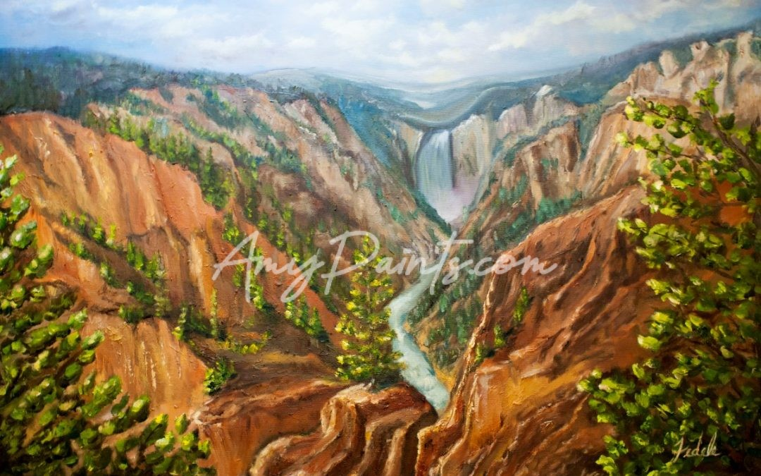 Grand Canyon of Yellowstone Artists Point Oil Painting