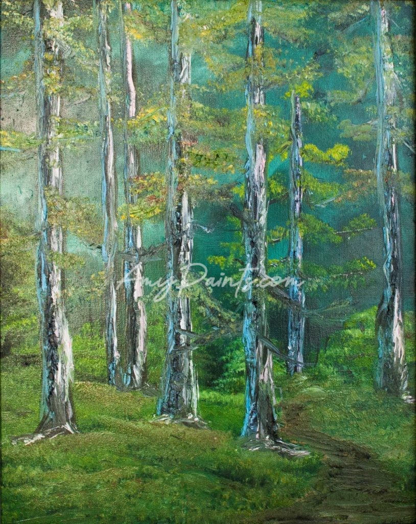 Birch Tree Forest Original Landscape Oil Painting by Amy Fedele
