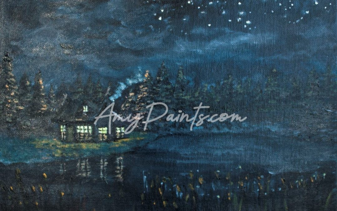 Lakehouse At Night Acrylic Painting